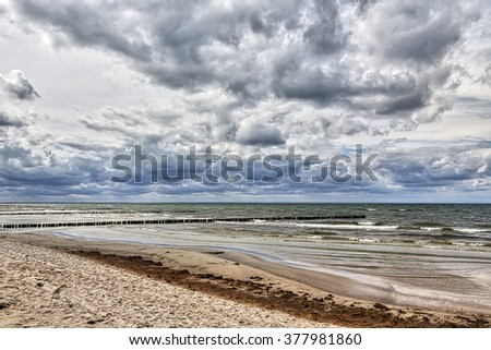 HDR shot of stormy weather at  the sea, Hiddensee, Germany - stock photo