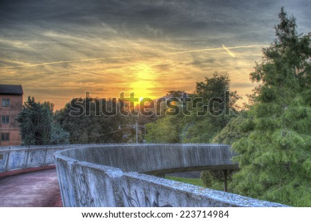 HDR Sunset in Mestre, this photo made by HDR technic - stock photo