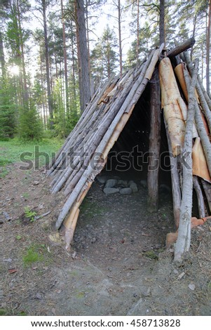 HDR view into stone age tent Naesaaker in Sweden. - stock photo