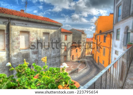 hdr view of Villanova Monteleone on a cloudy day - stock photo