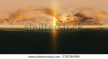 HDRI High resolution map. environment map,panorama of sea sunset, the view of the ocean sunrise, sunset at sea, tropical sunset. - stock photo
