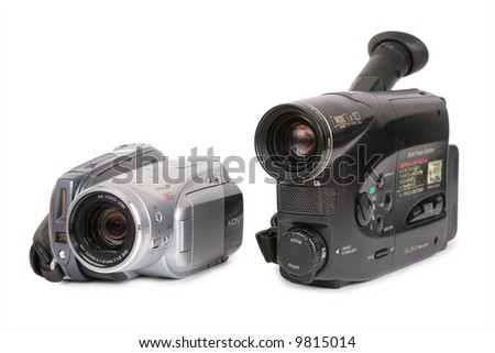 HDV and analog video cameras - stock photo
