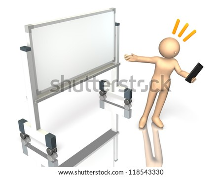 He has a commentary eagerly in front of the white board. - stock photo