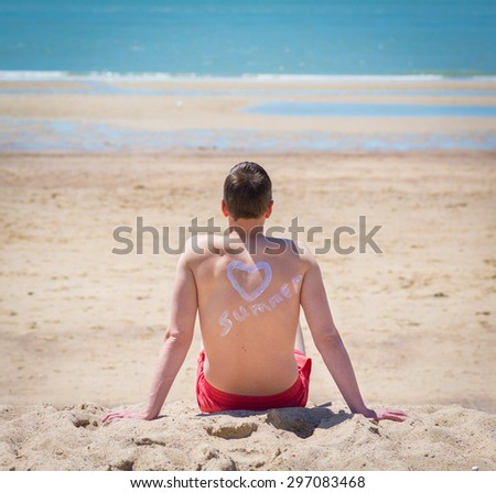 he is looking and relaxing at the seaside in retro old fashioned style - stock photo