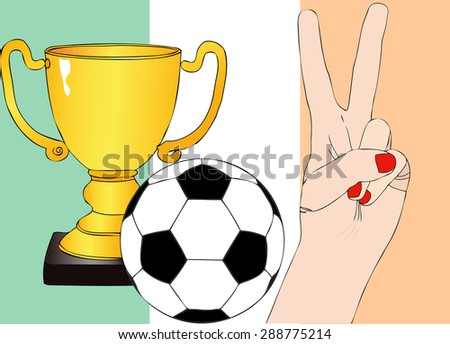 He won Ireland - Illustration depicting the joy of a supporter for the cup won in a football tournament for nations - stock photo
