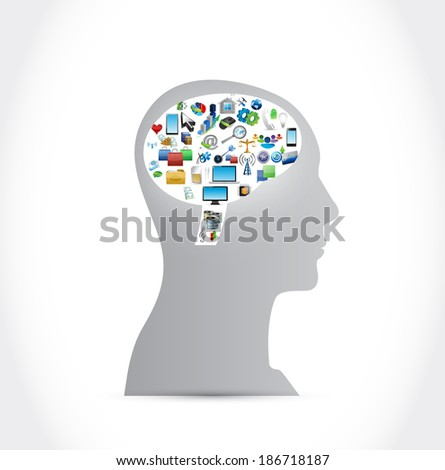 head and icons illustration design over a white background