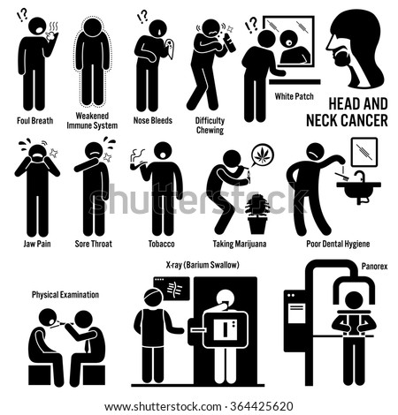 Head and Neck Cancer Symptoms Causes Risk Factors Diagnosis Stick Figure Pictogram Icons - stock photo