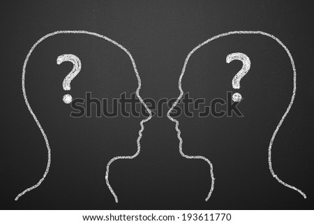 Head and Question - stock photo