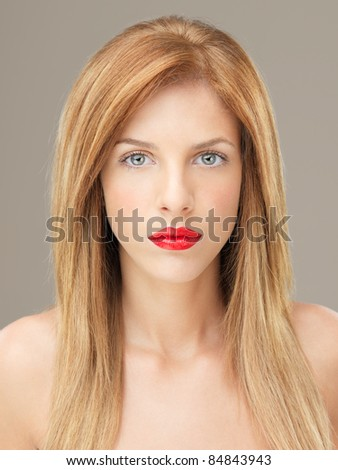 head and shoulders beauty portrait blonde woman - stock photo