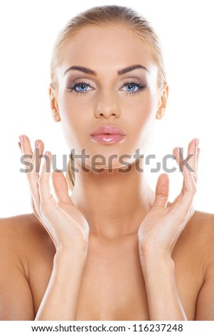 Head and shoulders of a gorgeous nude woman isolated - stock photo