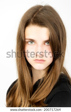 head and shoulders of  teen female model blond hair  - stock photo