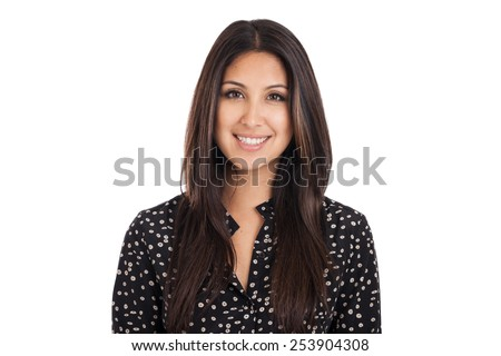 Head and shoulders portrait of a beautiful early 20s mixed race Japanese Hispanic woman isolated on white