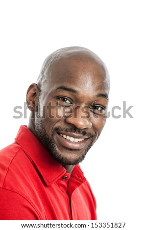Head and shoulders portrait of a late twenties black man isolated on a white background