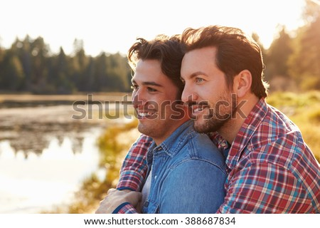 Head And Shoulders Shot Of Romantic Male Gay Couple - stock photo