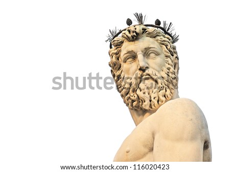 head and torso of statue of neptune on piazza della signoria in firenze or florence, italy, europe, isolated on white