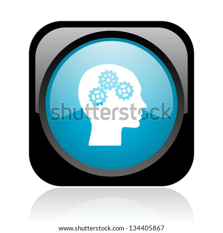 head black and blue square web glossy icon