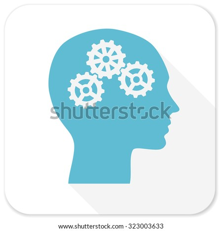 head blue flat icon