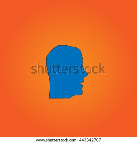 head Blue flat icon with black stroke on orange background.