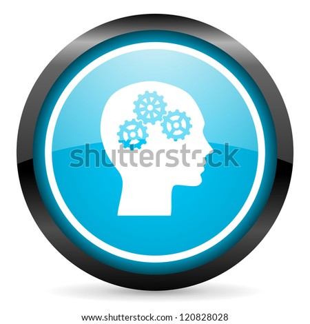 head blue glossy circle icon on white background - stock photo
