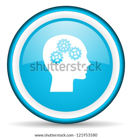 head blue glossy icon on white background - stock photo