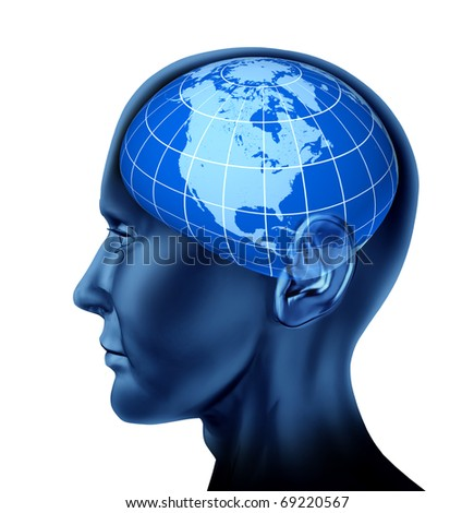 head brain north america  business man economist investor stock markets blue earth globe isolated on white