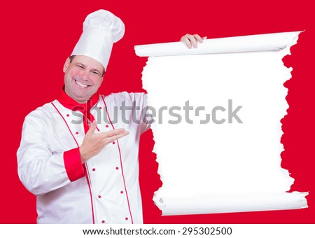 Head chef offers a menu on red background. Cook shows dining menu. Chef invites you to a restaurant with blank menu. Offer from cheerful chef. Master Cook holds a dining menu. Empty sign with cook. - stock photo