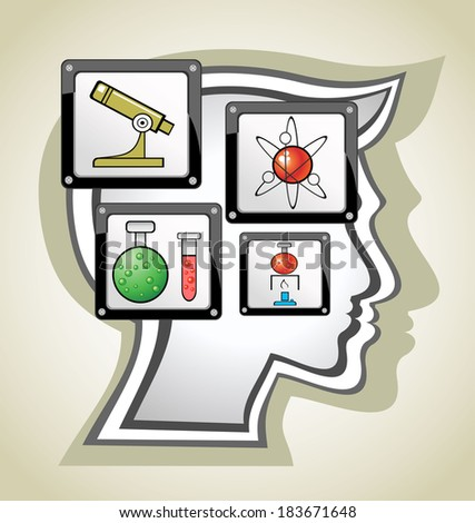Head.Children Learn to think - stock photo