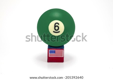 Head Cue with Chalk and Pool Snooker No. 6 ball - stock photo
