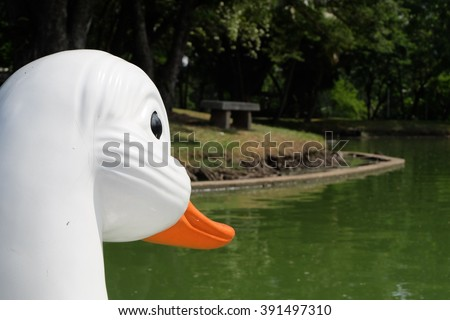 Head duck of pedal duck boats - stock photo