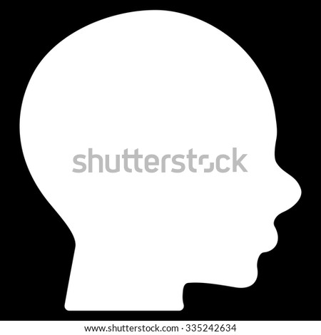 Head glyph icon. Style is flat symbol, white color, rounded angles, black background.
