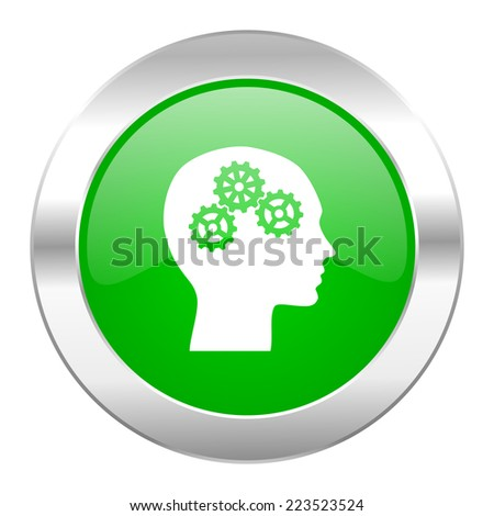 head green circle chrome web icon isolated  - stock photo