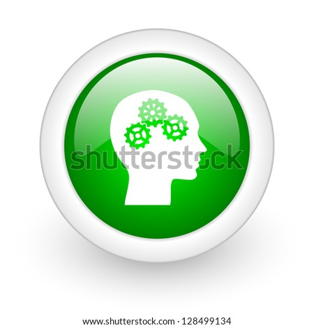 head green circle glossy web icon on white background - stock photo