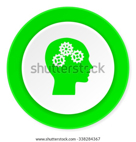 head green fresh circle 3d modern flat design icon on white background
