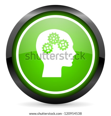 head green glossy icon on white background
