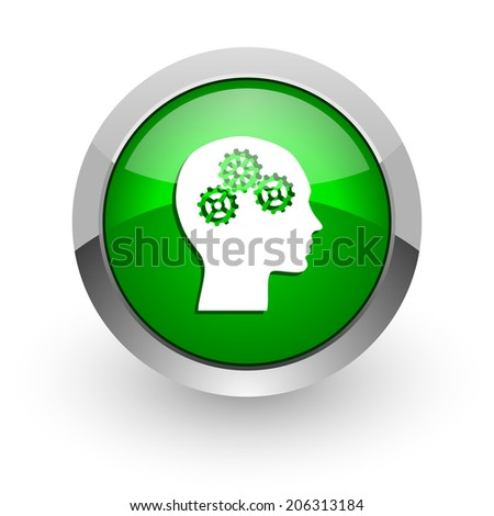 head green glossy web icon - stock photo