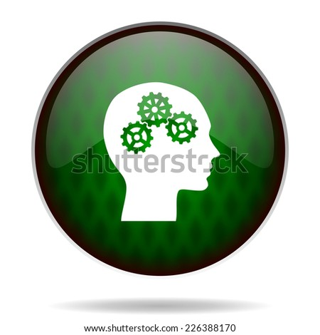 head green internet icon  - stock photo