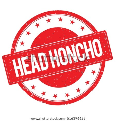 HEAD HONCHO stamp sign text word logo red.