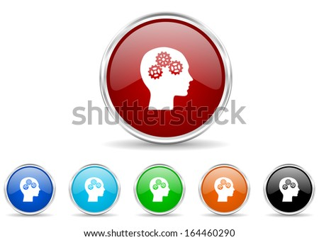 head icon set - stock photo
