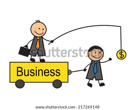 Head is on the trolley and holds the money in front of a business employee. Businessman comes to money and drags cart.  - stock photo