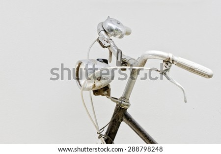 Head lamp and Handlebar of old  bicycle - stock photo
