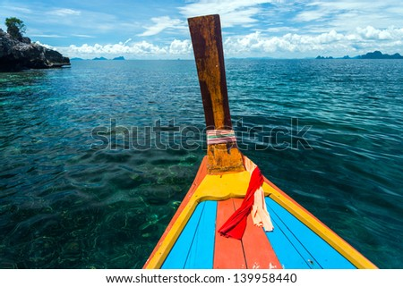 Head long tail fisherman boat in Andaman sea