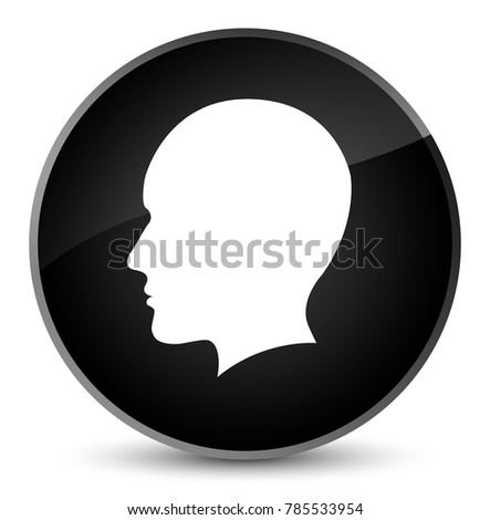 Head men face icon isolated on elegant black round button abstract illustration