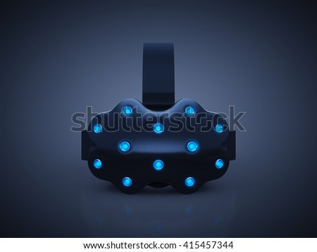 Head-mounted display ,VR headset on dark background , Virtual Reality gaming , 3d illustration