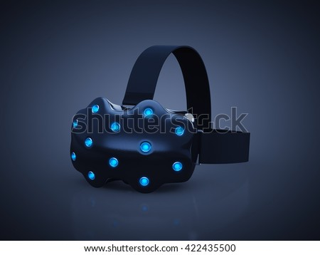 Head-mounted display , VR headset on dark background , Virtual Reality gaming , 3d illustration