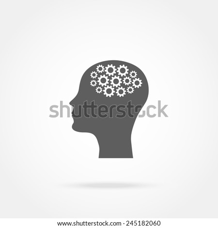 head of a man with a mechanism icon - stock photo