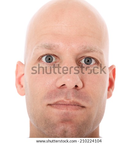 Head of a middle aged bald man