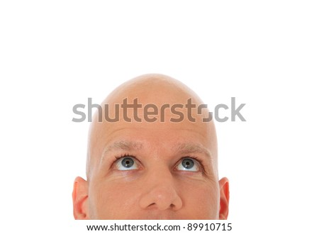 Head of bald man looking up. All on white background.