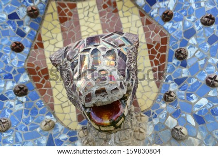Head of dragon salamander in Park Guell of Barcelona, Spain. - stock photo