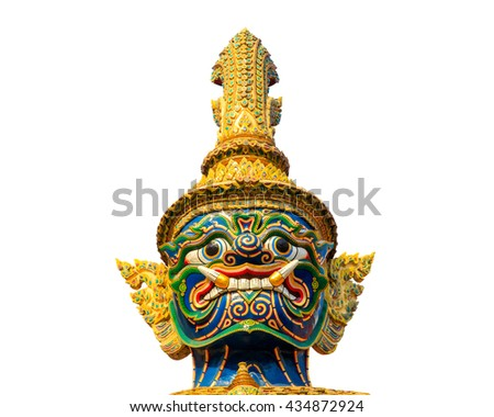 Head of giant guard statue at thai temple isolated on white background - stock photo
