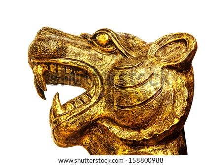 Head of golden lion statue in temple of Thailand, (Chonburi, Thailand) - stock photo